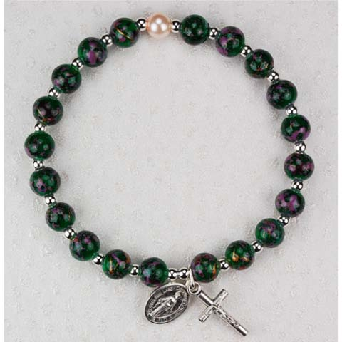 Marble Green First Communion Childrens Rosary Bracelet