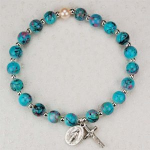 Multi Color Aqua Childrens First Communion Rosary Bracelet