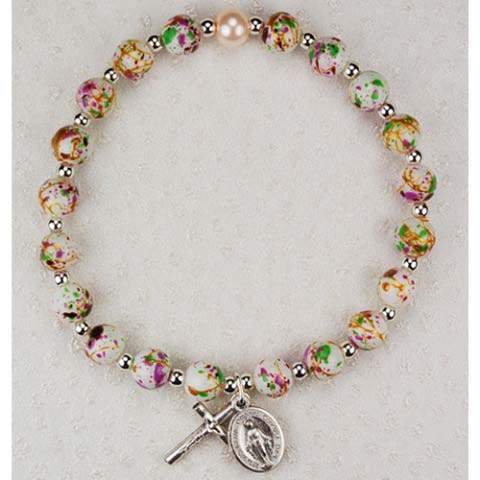 Multi Color Childrens First Communion Rosary Bracelet