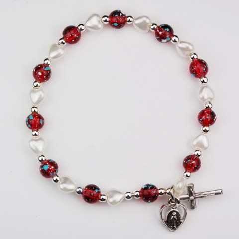 Multi Color Red White First Communion Bracelet for Children