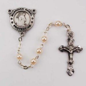 Pearl First Communion Rosary Beads