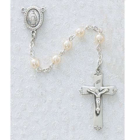 Pearl Miraculous Mary First Communion Childrens Rosary Beads