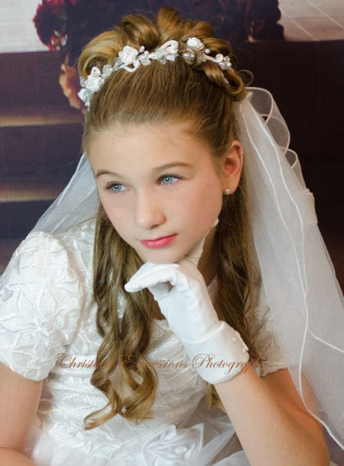 Pearls and Crystals Wreath White First Communion Veil