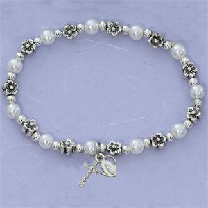 Pearls and Flowers First Communion Childrens Rosary Bracelet