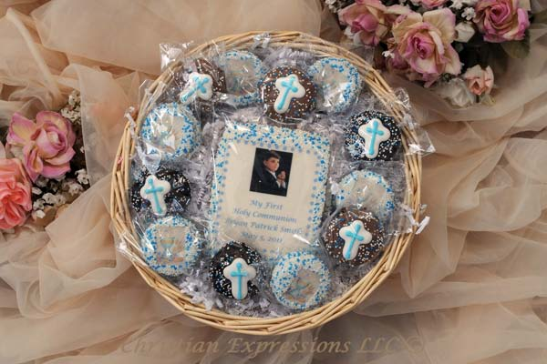 Personalized First Communion Cookie Gift Basket