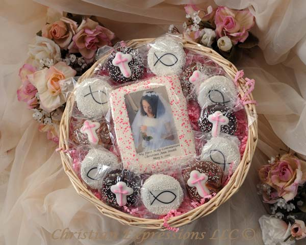 Personalized First Communion Cookie Gift Basket Oreos