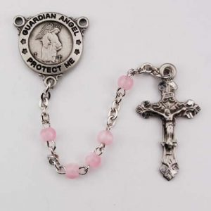 Pink Guardian Angel First Communion Childrens Rosary Beads