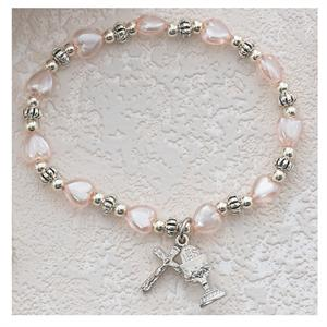 Pink Hearts Chalice First Communion Rosary Bracelet