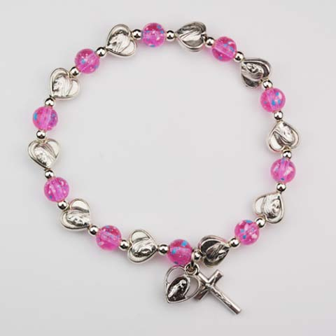 Pink and Hearts First Communion Childrens Rosary Bracelet