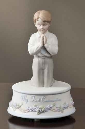 Praying Boy First Communion Porcelain Music Box