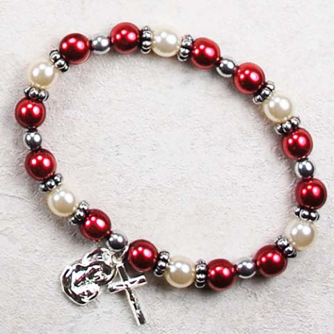 Red Pearl Childrens First Communion Rosary Bracelet