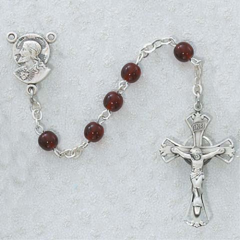 Ruby Red First Communion Childrens Rosary Beads