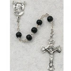 Sacred Heart Black First Communion Childrens Rosary Beads