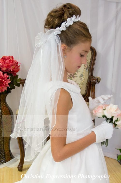 Satin Flowers Wreath First Holy Communion Veil