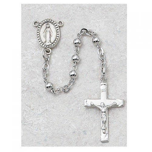 Silver Miraculous Mary First Communion Childrens Rosary Beads