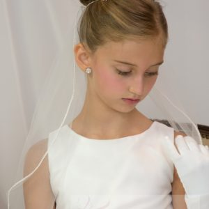 Single Tier White First Communion Veil