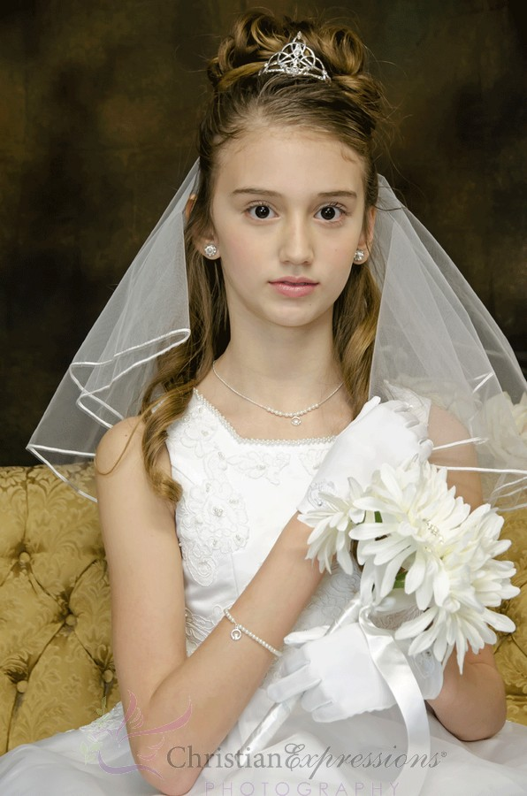 Trinity Knot Claddagh Irish First Holy Communion Tiara Veil