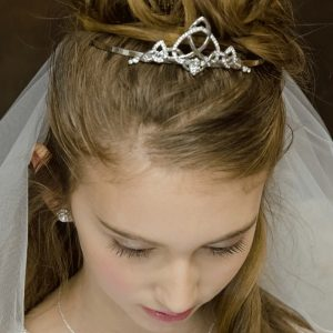 Trinity Knot Claddagh Irish First Holy Communion Veil Tiara
