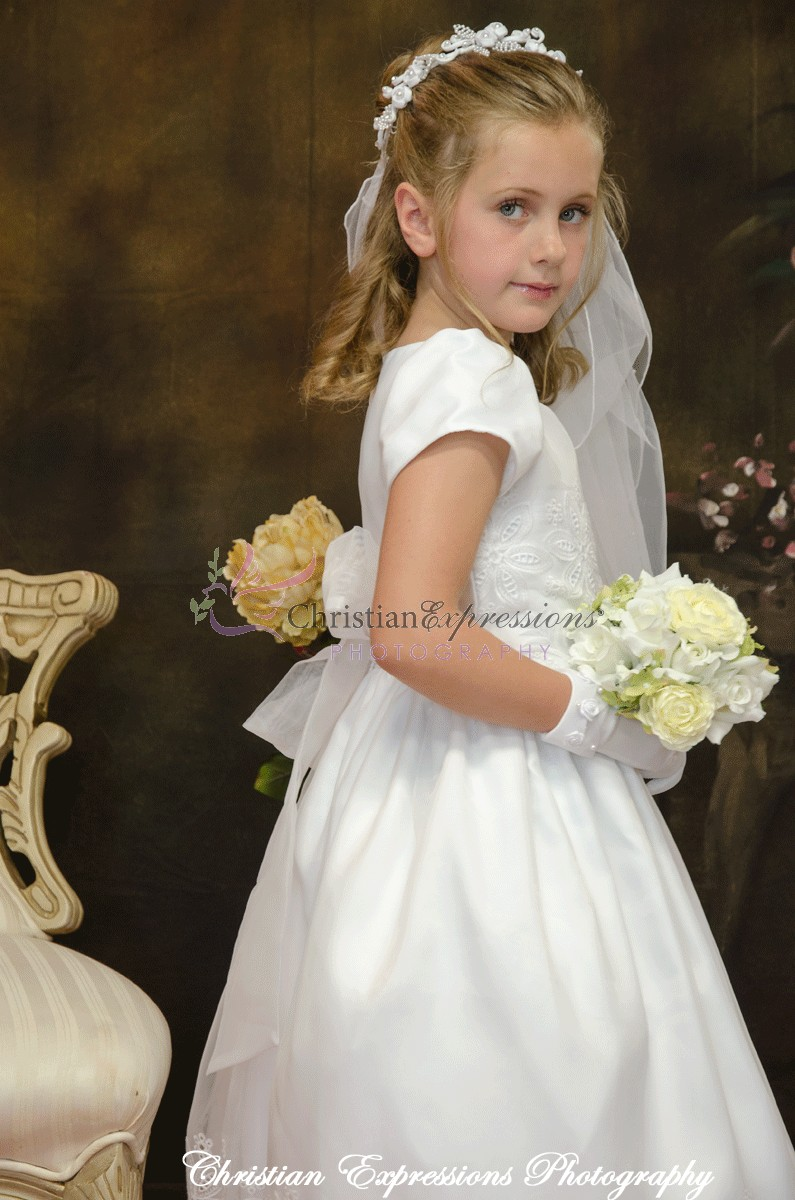 White Eyelet Modern First Holy Communion Dress