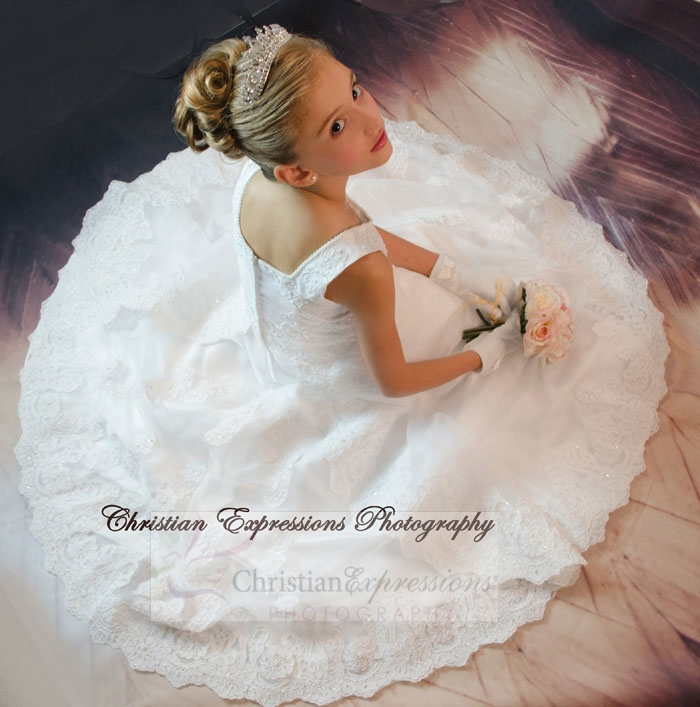 White Long Length First Communion Dress Lace and Beading