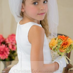 Satin Embroidered First Communion Dress Pleated Skirt