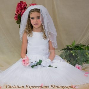 Satin Embroidered First Communion Dress Pleated Skirt and Flower