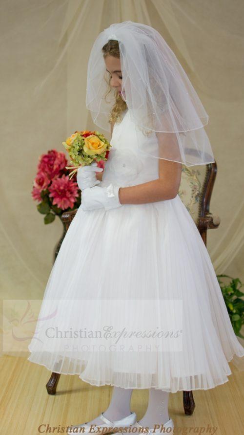 Irish First Communion Dress Pleated Skirt and Flower Shamrocks