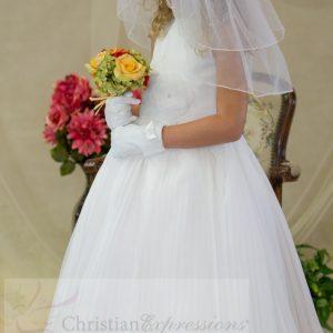 Irish Embroidered First Communion Dress Pleated Skirt and Flower Shamrocks