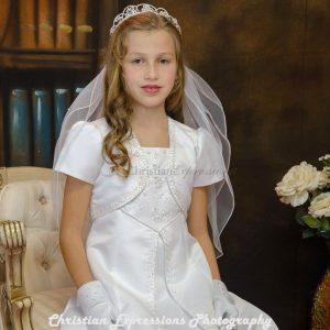 A Line Satin First Communion Dress Split Skirt Size 12