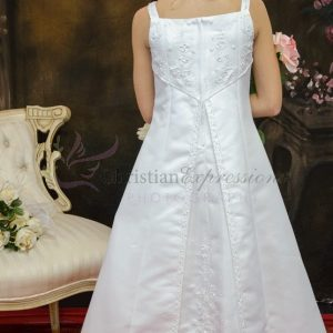 A Line Satin First Communion Dress Split Skirt Size 10