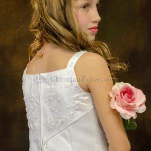 A Line Satin First Communion Dress with Split Skirt Size 5