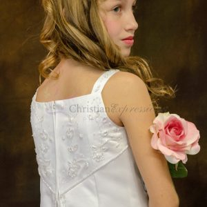 A Line Satin First Communion Dress with Split Skirt Size 5