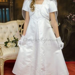 A Line Satin First Communion Dress with Split Skirt Size 7