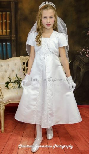 A Line Satin First Communion Dress with Split Skirt Size 7