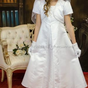 A Line Satin First Communion Dress with Split Skirt Size 8
