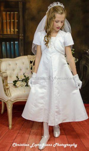 A Line Satin First Communion Dress with Split Skirt Size 8