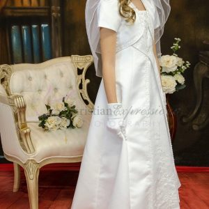 A Line Satin First Communion Dress with Split Skirt Size 10