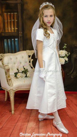 A Line Satin First Communion Dress with Split Skirt Size 10
