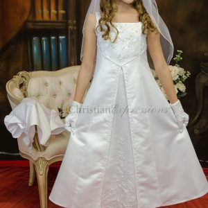 A Line Satin First Communion Dress with Split Skirt Size 12