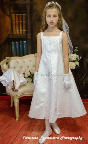A Line Satin First Communion Dress Split Skirt Size 7