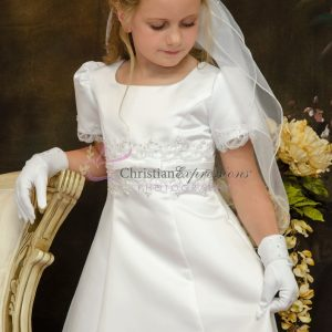 Girls A-Line first Communion dress with pearls and beading Half Size