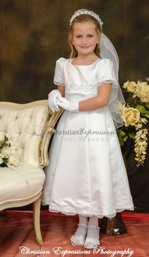 A-Line first Communion dresses with pearls