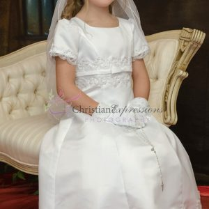 A-Line first Communion dress with pearls and beading size 6