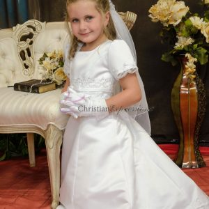 A-Line first Communion dress with pearls and beading Half Size