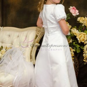 A-Line first Communion dress with pearls and beading Plus Size