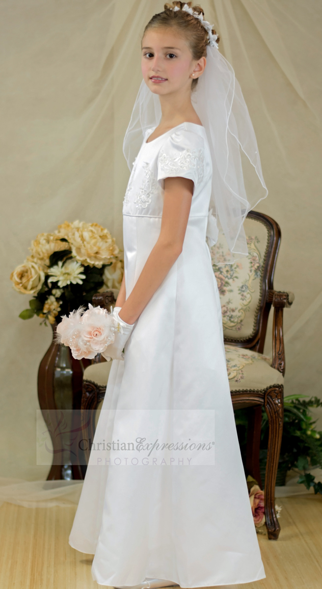 long length satin A line first communion dress