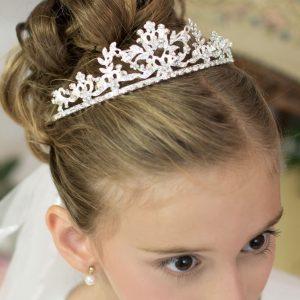 Silver Crown First Holy Communion Veil Tiara