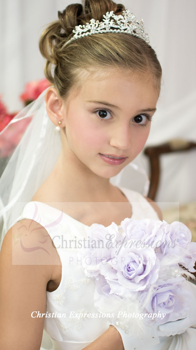 Silver Crown Girls First Holy Communion Veil Tiara