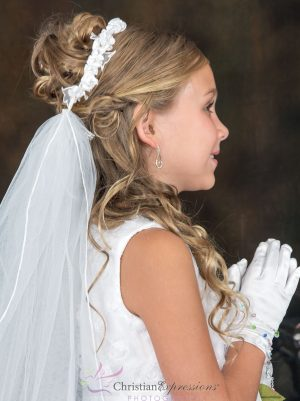 First Communion Wreath Veil with Satin Flowers