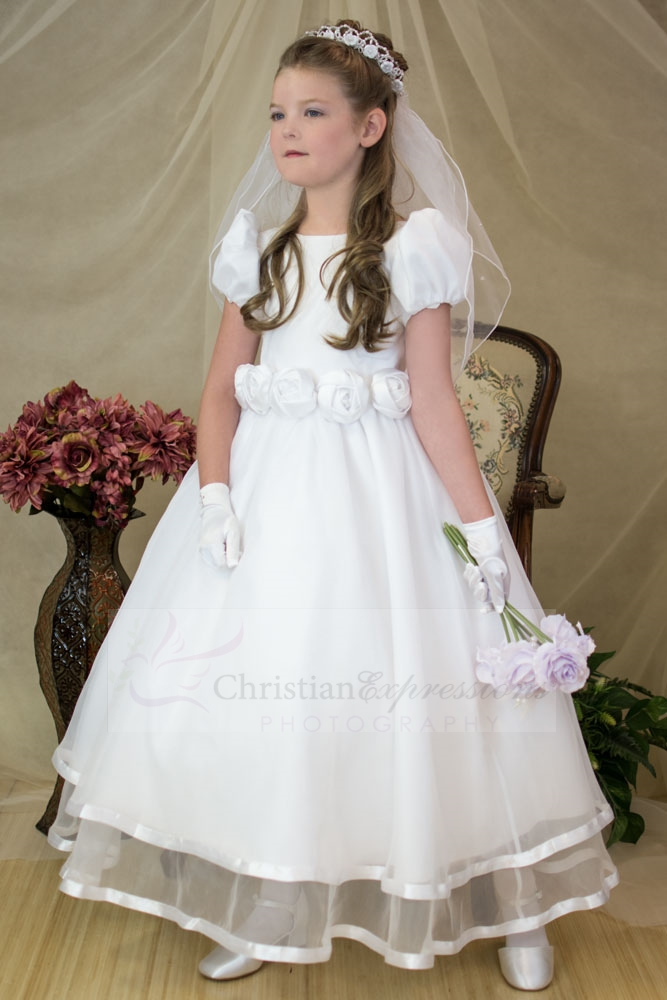 Puf Sleeves And Bateau Neckline Highlight Satin Bodice